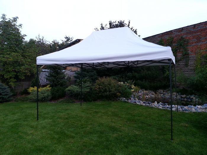 Zahradní párty stan DELUXE nůžkový + boční stěna - 3 x 4,5 m bílá