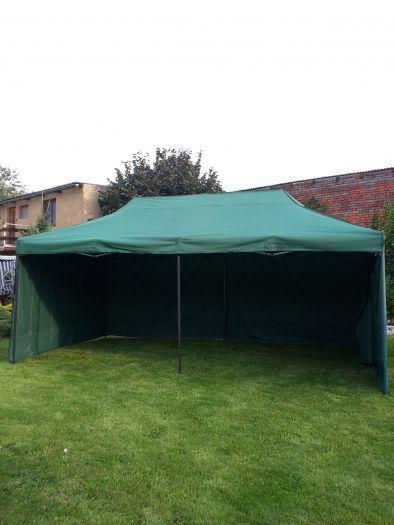 Zahradní párty stan DELUXE nůžkový + boční stěna - 3 x 6 m zelená