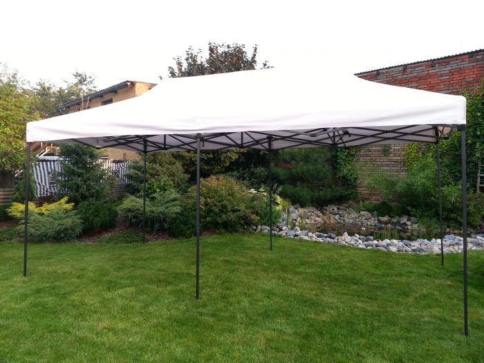 Zahradní párty stan DELUXE nůžkový + boční stěna - 3 x 6 m smetanová