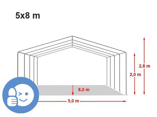 Zahradní párty stan CLASSIC 5 x 8 m - bílá