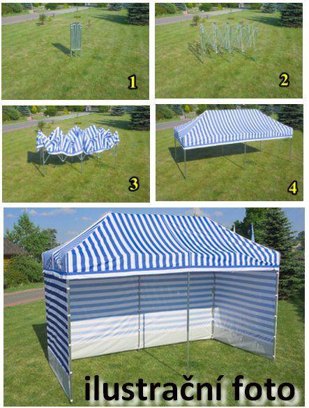 Zahradní párty stan PROFI STEEL 3 x 3 – modro-bílá pruhovaná