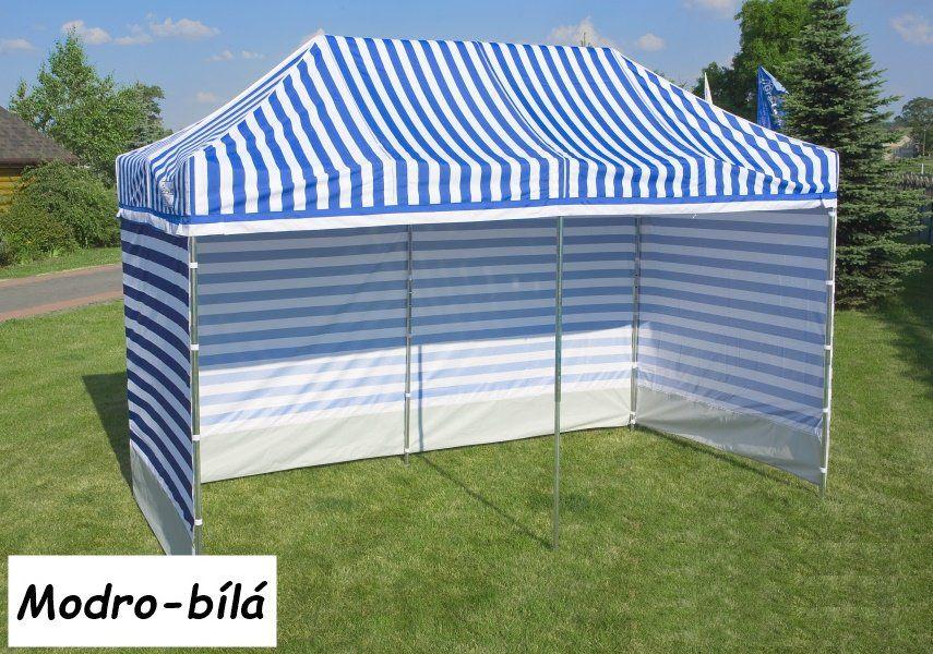 Zahradní párty stan PROFI STEEL 3 x 3 m – modro-bílá