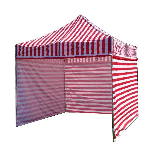 Zahradní párty stan PROFI STEEL 3 x 3 – červeno-bílá pruhovaná