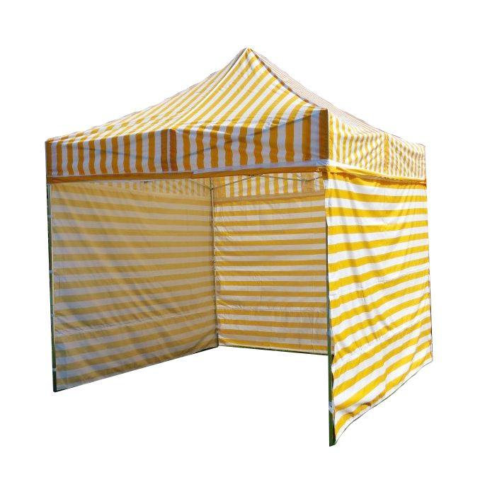 Zahradní párty stan PROFI STEEL 3 x 3 – žluto-bílá pruhovaná