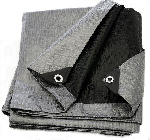 Krycí plachta s oky 4x8 m- stříbrno-černá 260 g/m2