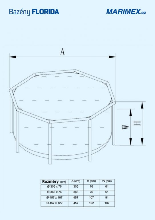 Bazén Florida 3,05×0,76  bez filtrace