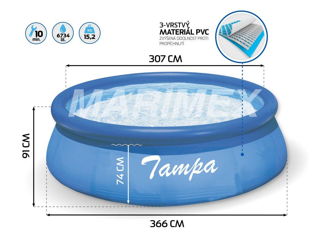 Bazén Tampa 3,66x0,91 m bez filtrace