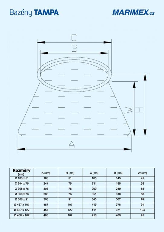 Bazén Tampa 4,57x1,22 m s kartušovou filtrací a příslušenstvím