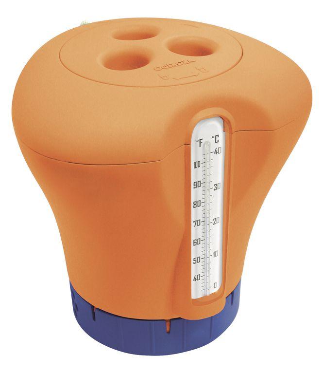 Plovák na chlor s teploměrem - oranžová