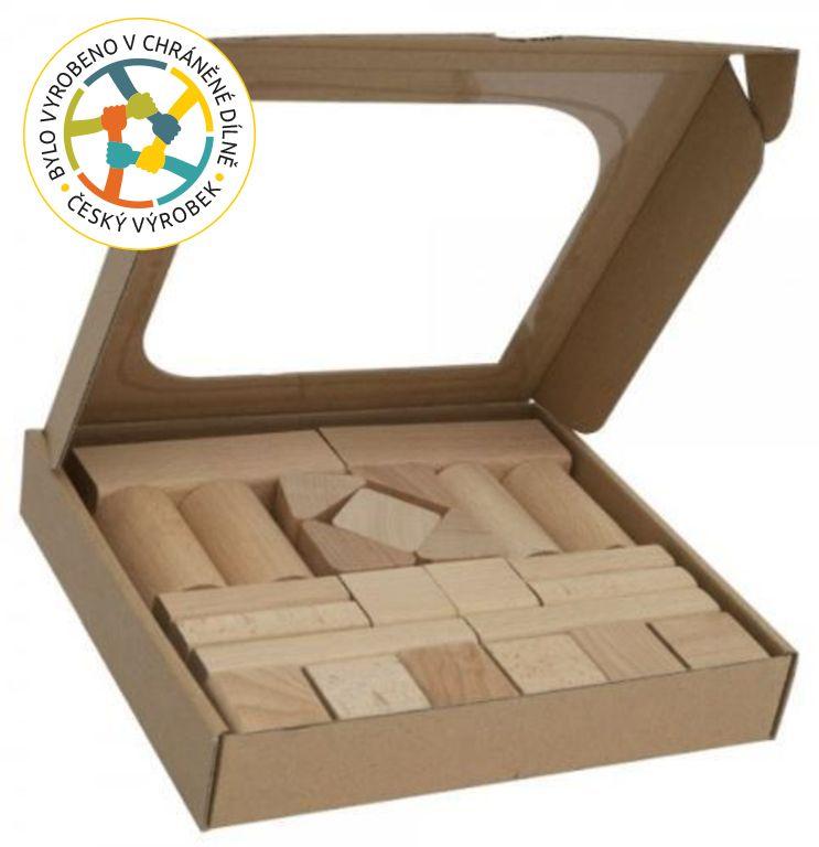 Kostky dřevěné na hraní -  25 ks