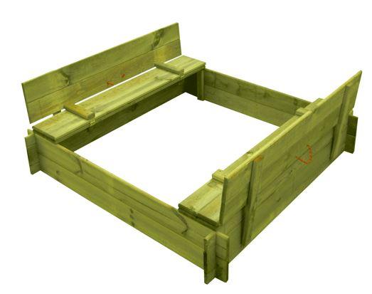 Pískoviště dřevěné čtyřhranné s krytem/lavičkou