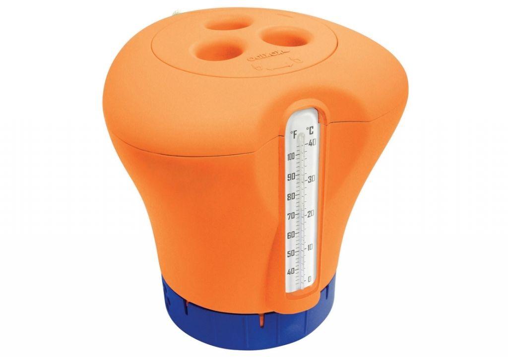 Plovák na chlor s teploměrem, oranžová