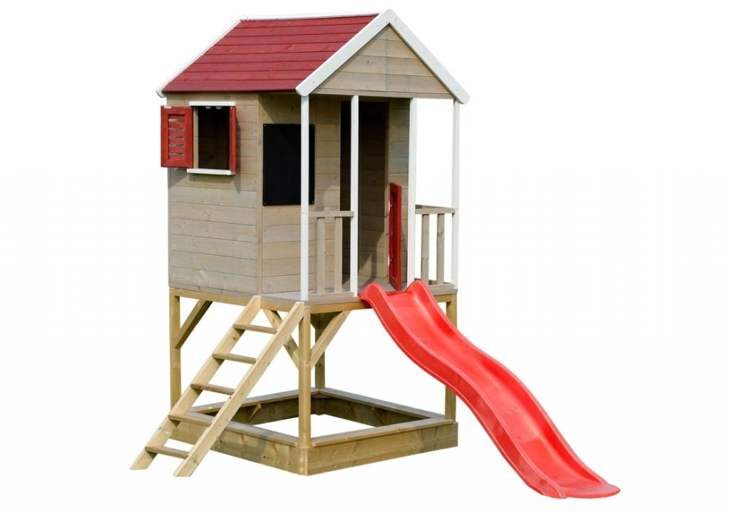 Dětský dřevěný domeček se skluzavkou, 280 x 242 x 197 cm