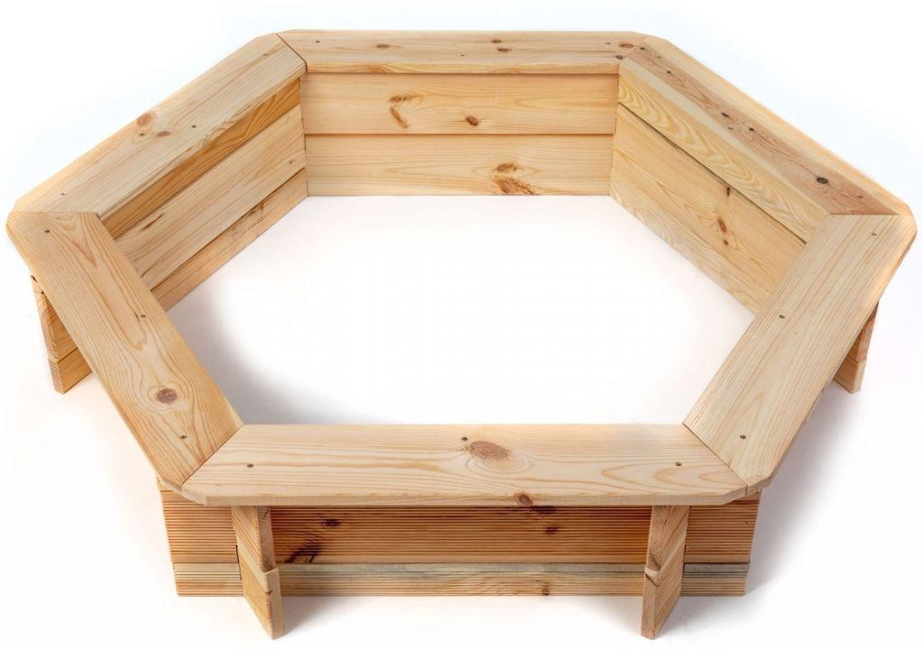 Dřevěné pískoviště šestihranné, 110 x 26 cm