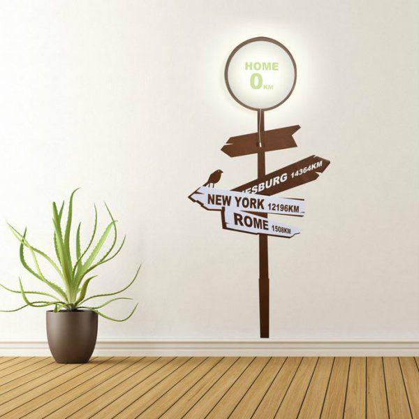 Samolepka a světlo na zeď – rozcestník s nápisem Domov