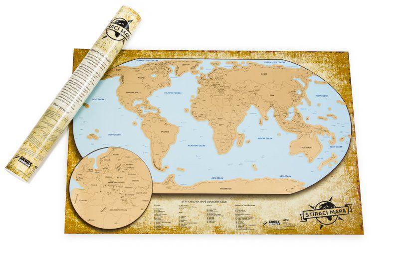 Stírací mapa světa - LUXUSNÍ ČESKÁ VERZE