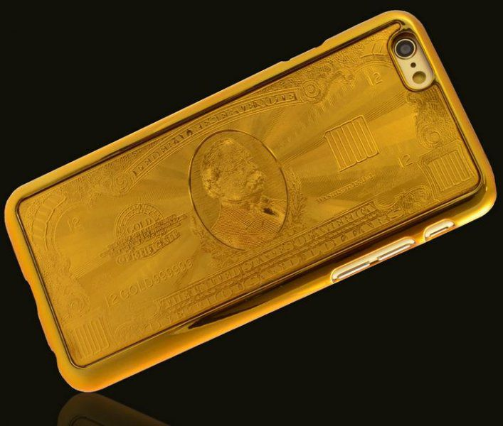 Zlatý kryt na iPhone 6 - 1000$ bankovka