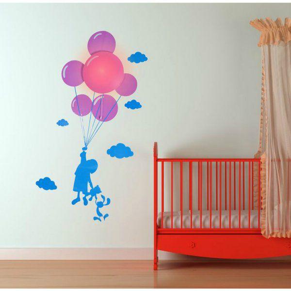 Samolepka a světlo na zeď – dítě s balonky