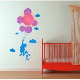 Samolepka a světlo na zeď - dítě s balonky