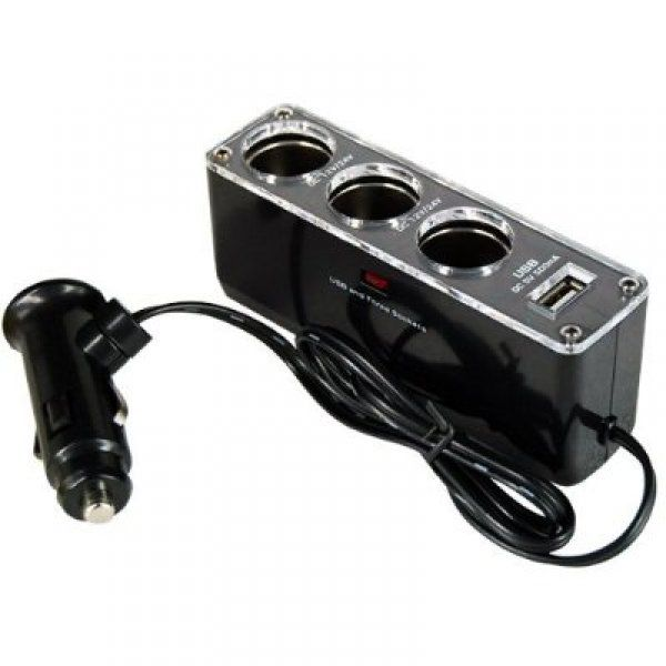 4 v 1 nabíjecí adaptér do auta - černá