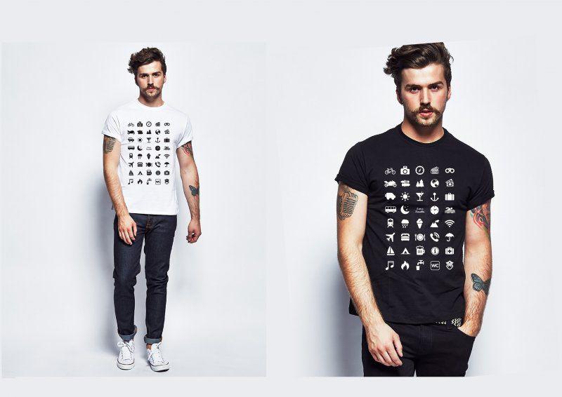 Cestovní tričko s ikonami - Černé - Velikost M
