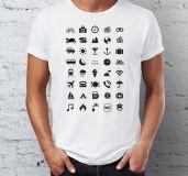 Cestovní tričko s ikonami - Černé - Velikost XL