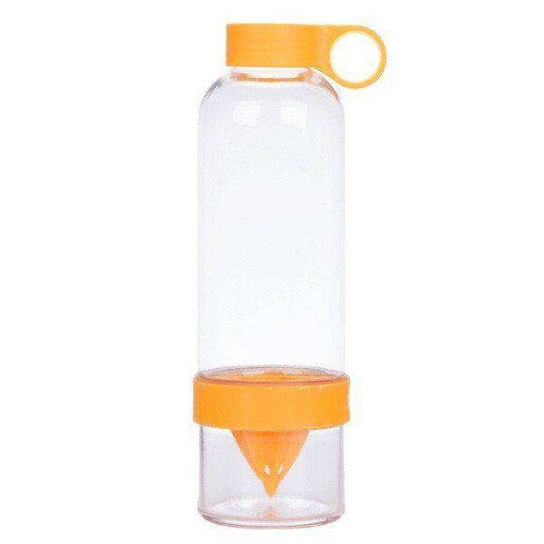 Láhev na pití s lisem na citrusy - oranžová