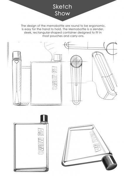 Láhev na vodu ve tvaru sešitu - A5  - Černá