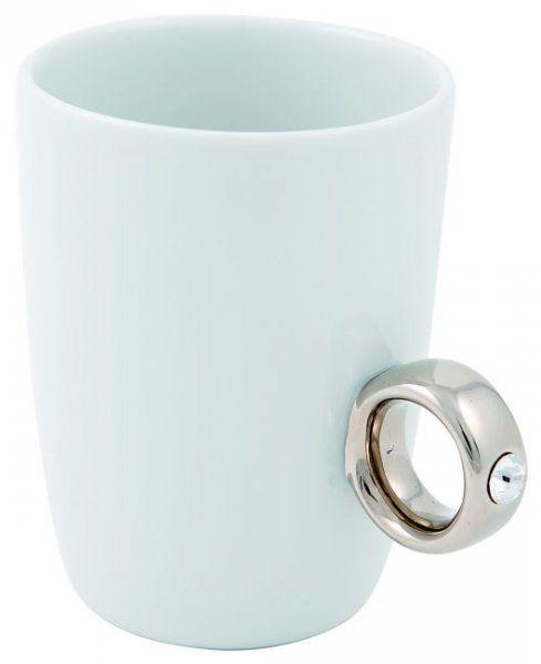 Porcelánový šálek - prsten - Bílý hrnek