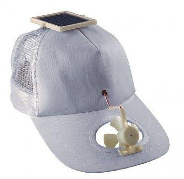 Solární čepice s větráčkem Bílá