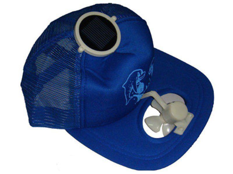 Solární čepice s větráčkem modrá