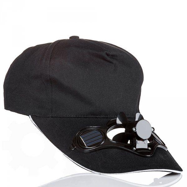 Solární čepice s větráčkem černá