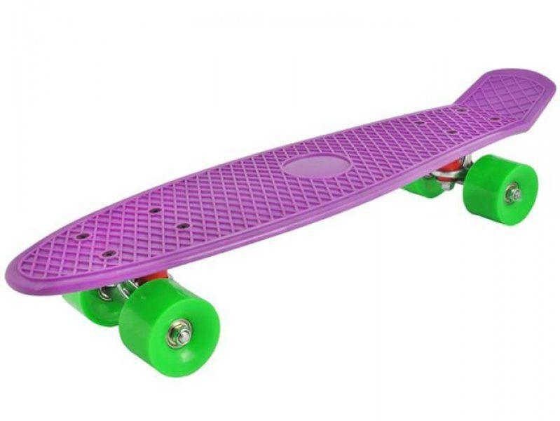Stylový skateboard z tvrzeného plastu - Fialová