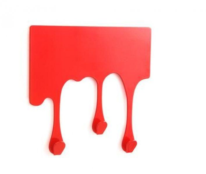 Věšák ve tvaru stékající kapky - červená