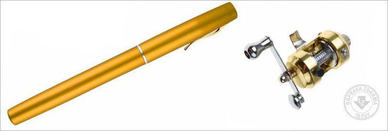 Mini rybářský prut s navijákem - pero - Zlatá