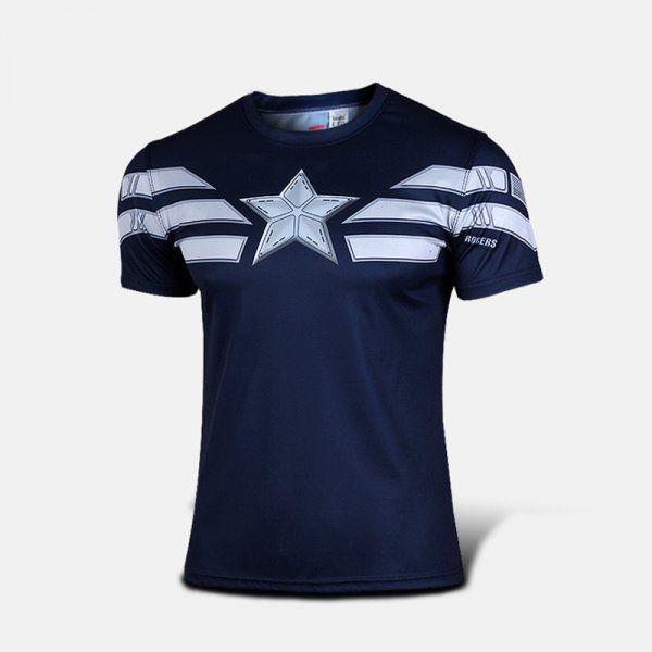 Sportovní tričko - Captain America WINTER SOLDIER - modrá - Velikost L