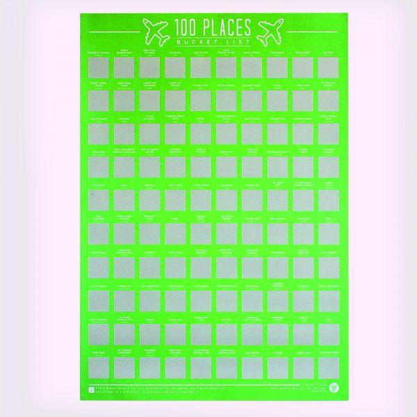 Stírací plakát 100 míst k navštívení – Bucket list