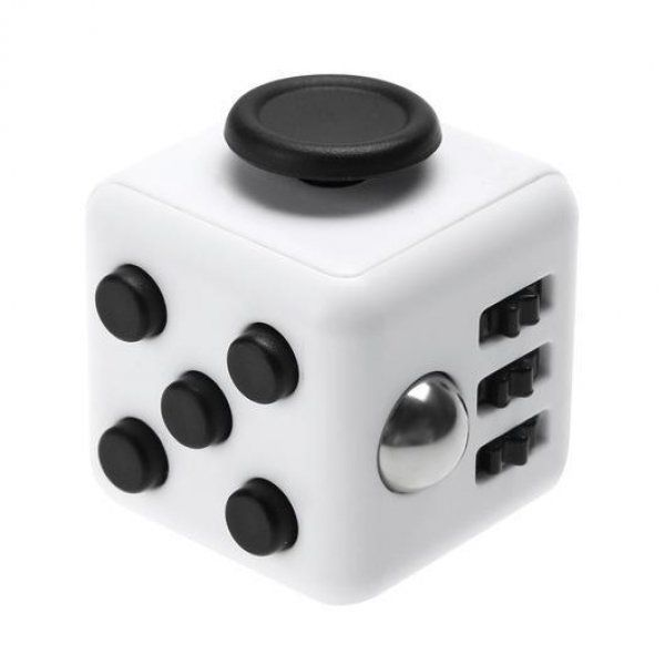 Fidget Cube antistresová kostka - antistresová hračka - Šedo-černá