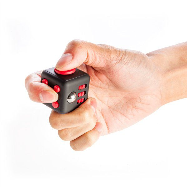 Fidget Cube antistresová kostka - antistresová hračka - Bílo-modrá