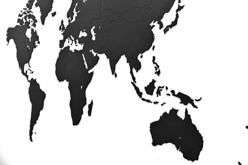 Luxusní dekorativní mapa světa 130x78 - Černá