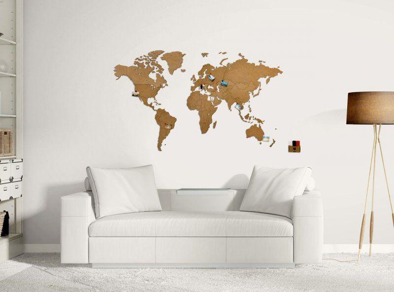 Luxusní dekorativní mapa světa 130x78 Přírodní