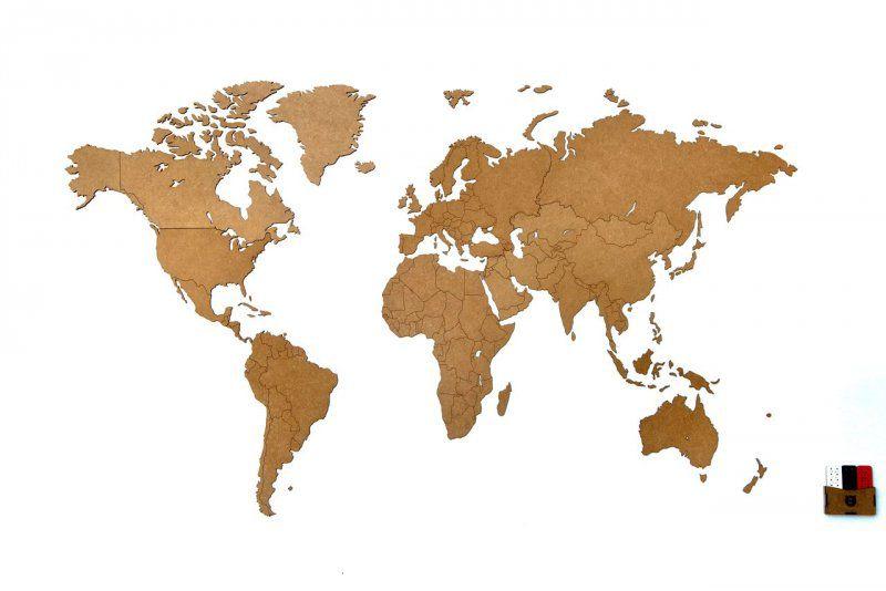Luxusní dekorativní mapa světa 130x78 - Přírodní