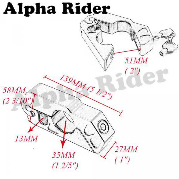 Zámek na řidítka motorky nebo kola - stříbrná