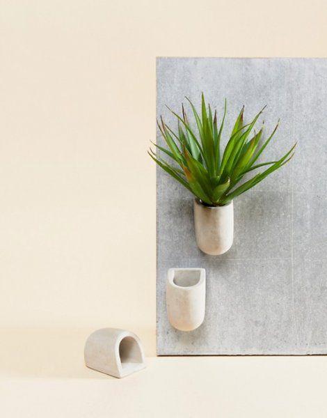 Magnetické betonové květináčky – 3ks