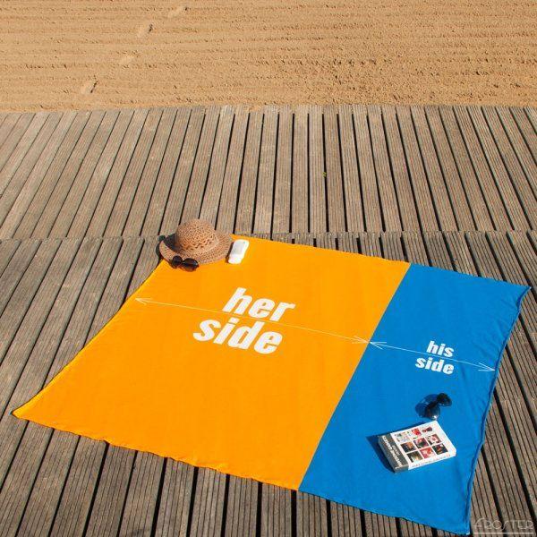 Plážový ručník pro pár – her side – his side