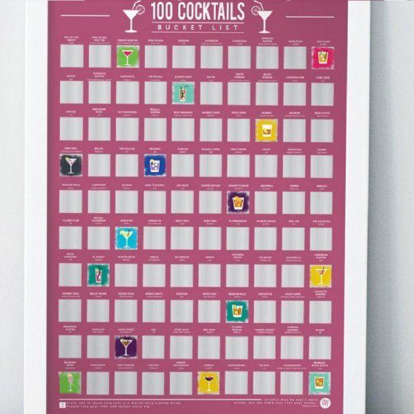 Stírací plakát 100 nejlepších koktejlů – Bucket list