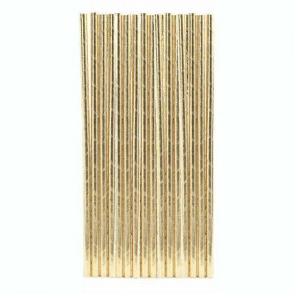Papírová brčka - zlatá, 144 ks
