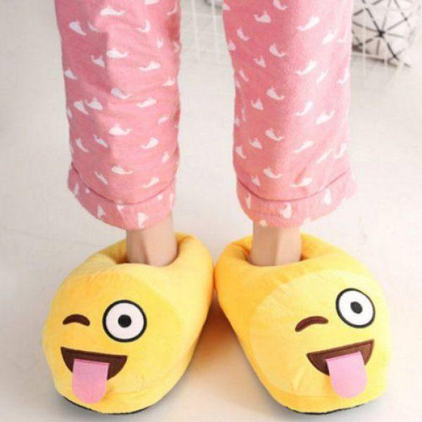 Plyšové pantofle EMOJI - Jazyk