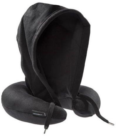 Cestovní polštář s kapucí - černá