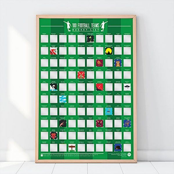 Stírací plakát – 100 fotbalových týmů